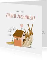Umzugskarte zusammenziehen Schneckenhaus