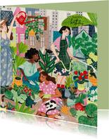Urban gardening, tuinieren in de stad verjaardagskaart