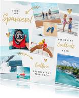 Urlaubskarte Fotocollage Aquarellblau und Herzen