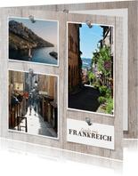 Urlaubskarte Fotos auf Holzpinnwand