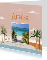 Urlaubskarte mit Foto, Palmen und Flamingos
