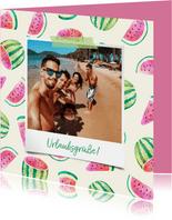 Urlaubskarte Polaroidfoto und Melonen Muster