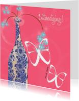 Uitnodigingen - Vaas en vlinder uitnodiging