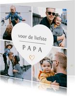Vaderdag fotocollage kaart met 4 eigen foto's en hartje