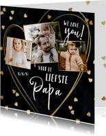 Vaderdag kaart met fotocollage en hartjes confetti in goud