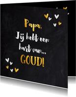 Vaderdag kaart typografie krijtbord met gouden elementen