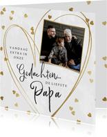 Vaderdag kaart voor een overleden vader met hartjes in goud