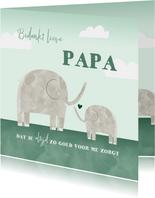 Vaderdagkaart bedankt lieve papa kind olifantjes waterverf