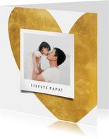 Vaderdagkaart gouden hart met foto