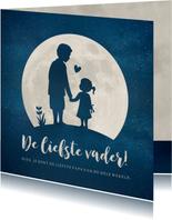 Vaderdagkaart met silhouet van vader en dochter in maan