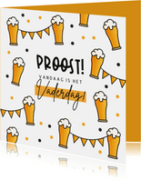 Vaderdagkaart proost biertjes feest vlaggen fijne Vaderdag
