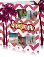 Vakantie groetjes hippe zomerse foto vakantie kaart