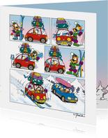 Vakantie Loeki wintersport strip auto
