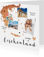 Vakantiekaart Griekenland stijlvol hip hartjes fotocollage