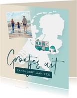 Vakantiekaart groetjes uit nederland kamperen camper foto