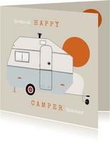 Vakantiekaart happy camper caravan illustratie zon groetjes