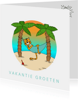 Vakantiekaart kleurplaat aan binnenzijde Tijger op 't strand