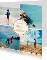 Vakantiekaart met 4 foto's vierkant 'Vakantiegroetjes'