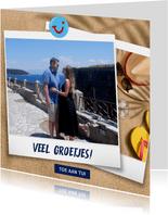 Vakantiekaart met eigen foto strand en groetjes uit