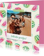 Vakantiekaart polaroid met watermeloen patroon