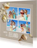 Vakantiekaart strandzand schelpen - SG