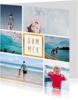 Vakantiekaart 'Summer' met 6 foto's vierkant