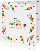 Vakantiekaart vrolijk zomer ijsjes confetti fijne vakantie