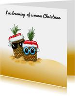 Vakantiekaarten ananassen met kerstmuts