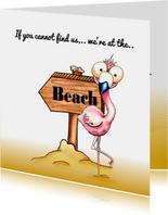 Vakantiekaarten flamingo op het strand