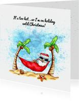 Vakantiekaarten kerstman in hangmat