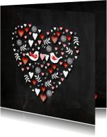 Valentijn hart schoolbord