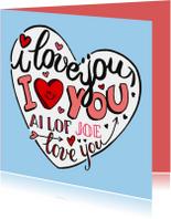 Valentijn love you handlettering