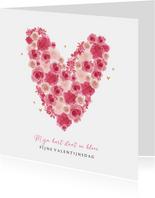 Valentijnskaart bloemen hartjes goud foto lief