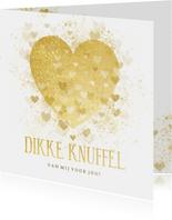 Valentijnskaart dikke knuffel gouden hart