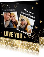Valentijnskaart foto zwart panter goudlook