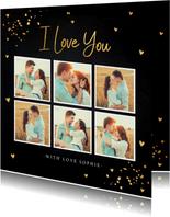 Valentijnskaart fotocollage donker gouden confetti