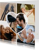 Valentijnskaart fotocollage met hartje en 5 eigen foto's