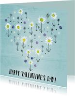 Valentijnskaart geschilderde bloemen