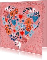Valentijnskaart geschilderde hartjes en bloemen