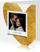 Valentijnskaart gouden hart met foto