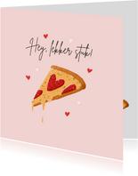 Valentijnskaart grappig pizza eten lekker stuk hartjes