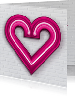Valentijnskaarten - Valentijnskaart groot roze neon hart