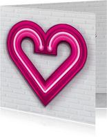 Liefde kaarten - Valentijnskaart groot roze neon hart