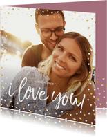 Valentijnskaart grote foto met goudlook hartjeskader