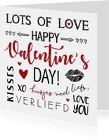 Valentijnskaart handlettering rood