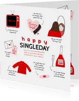 Valentijnskaart happy singleday tips illustratie rood roze