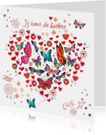 Valentijnskaart Hart  Vlinders