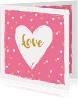 Valentijnskaart hip hartjes goud roze