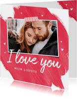 Valentijnskaart hip verf foto hartjes