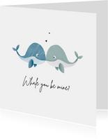 Valentijnskaart homo met walvisjes en hartjes